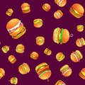 Seamless pattern tasty burger grilled beef and fresh vegetables dressed with sauce bun for snack, american hamburger