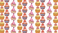 Seamless pattern with tasty cup cakes in soft colors