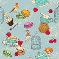Seamless pattern with tea cage coffee pot cup jelly cherry berry macaroon strawberry spoon bird flower peony raspberr sweet cakes Stock Images