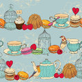 Seamless pattern with tea cage coffee pot cup jelly cherry berry macaroon strawberry spoon bird flower peony raspberr sweet cakes Stock Photo