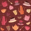 Seamless pattern with tea and coffee items cups teapots cakes Stock Image