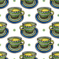Seamless pattern with tea cups and calligraphy decoration. Watercolor texture for menu or wrapping design
