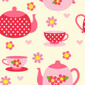 Seamless pattern with tea cups and pots Royalty Free Stock Photo