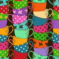 Seamless pattern of tea cups with stack colorful Royalty Free Stock Photography