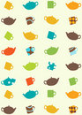 Seamless pattern of tea pots and cups Royalty Free Stock Photography