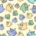 Seamless pattern with tea pots and cups Royalty Free Stock Photo