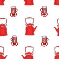 Seamless pattern with tea pots and tea cups. Royalty Free Stock Photo