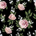 Seamless pattern with tea roses bouquet on black background. Vector illustration.