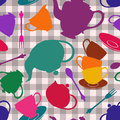 Seamless pattern of tea set colorful on a gray white checkered background Stock Photos