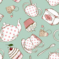 Seamless pattern of tea set and cupcakes fancy white pink polka dots Royalty Free Stock Image