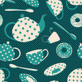 Seamless pattern of tea set and donuts fancy blue white polka dots Stock Photo