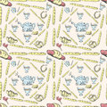 Seamless pattern tea set and pastries and sweets