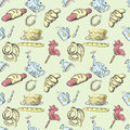 Seamless pattern tea set and pastries and sweets 3