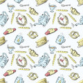 Seamless pattern tea set and pastries and sweets 1