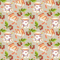 Seamless pattern with teacup, cheese cake and berries on pea spotted background Royalty Free Stock Photo
