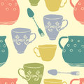 Seamless pattern with teacups and pitchers tea cups spoons Stock Photo