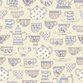 Seamless pattern with teacups and teapots Royalty Free Stock Photo