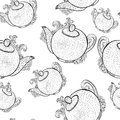 Seamless pattern with teapots breakfast hand drawn vector background Royalty Free Stock Photo