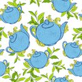 Seamless pattern with teapots breakfast hand drawn vector background Stock Images