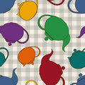 Seamless pattern of teapots colorful on a gray white checkered background Stock Photography