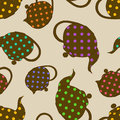Seamless pattern of teapots with colorful polka dot Stock Images