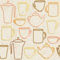 Seamless pattern with teapots and cups silhouettes grunge Stock Photos