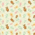 Seamless pattern with teddy bears cartoon vector illustration of retro funky background cute little Stock Photo