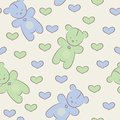 Seamless pattern with teddy bears and hearts baby Stock Image