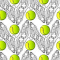 Seamless pattern with tennis, rackets, ball. Hand drawn, drawing paper, design background, backdrop. Sport inventory for