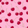 Seamless pattern. Red cherries on a pink background. Royalty Free Stock Photo
