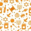 Seamless pattern, texture for the Jewish new year. Rosh Hashanah, Shana Tova background wallpaper. Vector illustration Royalty Free Stock Photo