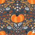 Seamless pattern for thanksgiving celebration. Vector of hand drawn illustration with ripe pumpkin and leaves arranged in vintage Royalty Free Stock Photo