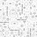 Seamless pattern on the theme of alchemy and mysticism with occult symbols.