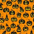 Seamless illustration on the theme of Halloween, different shapes dark pumpkin on orange background
