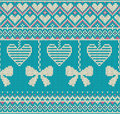 Seamless pattern on the theme of holiday Valentine`s Day with an image of the Norwegian and fairisle patterns. White bows and hear