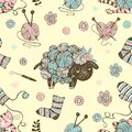 Seamless pattern on the theme of knitting witha cute lamb from balls of yarn and a cute cat. Vector Royalty Free Stock Photo