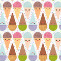 Seamless pattern with three Kawaii mint raspberry chocolate Ice cream waffle cone funny muzzle with pink cheeks and winking eyes, Royalty Free Stock Photo
