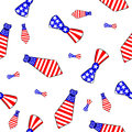 Seamless pattern with ties and bow ties painted in the colors of the american flag Royalty Free Stock Images