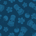 Seamless pattern of tiki coconut and hibiscus on a blue background Stock Photography