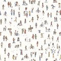 Seamless pattern of tiny pedestrians
