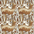 Seamless pattern-town Stock Photo