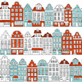 Seamless pattern with townhouses in european style. Retro color.