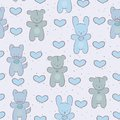 Seamless pattern with toys baby cat bear rabbit Stock Photography