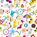Seamless pattern with toys background for kids over white Royalty Free Stock Images