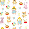 Seamless pattern from toys for kids. A vector picture with a ball, a doll, a baby`s dummy, a hare, a bear.