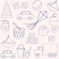 Seamless pattern with toys outlines this is file of eps format Royalty Free Stock Photos