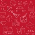 Seamless pattern with toys silhouettes red Stock Photos