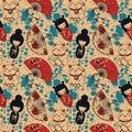 Seamless pattern with traditional asian souvenirs^ hand paper fans, kokeshi dolls, maneki neko and sakura flowers Royalty Free Stock Photo