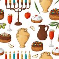 Seamless pattern with traditional hand drawn elements. Happy Hanukkah sketch objects. Vector illustartion