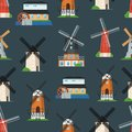 Seamless pattern with traditional old windmill Royalty Free Stock Photo